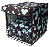 image of brown and blue patterned dog crate cover