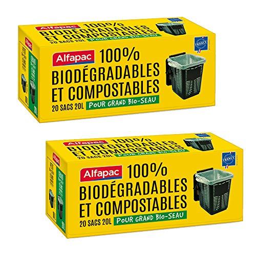 Alfapac BRBIOSEAUGM Alfapac-20 20L À Poignées Poubelle pour Bio-Seau Grand Modèle-100% Biodégradables-Lot De 2 – Sacs Verts, 45 X 57 Cm