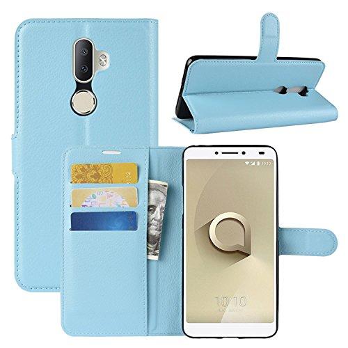 HualuBro Alcatel 3V Hülle, Leder Brieftasche Etui LederHülle Tasche Schutzhülle HandyHülle [Standfunktion] Handytasche Leather Wallet Flip Hülle Cover für Alcatel 3V (Blau)