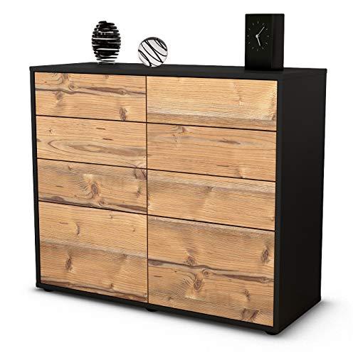 Stil.Zeit Sideboard Celeste/Korpus anthrazit matt/Front Holz-Design Pinie (92x79x35cm) Push-to-Open Technik & Leichtlaufschienen