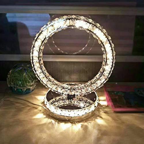 LED-Tischleuchte, Kristall Runde Tischlampe, LED Tischlampe für Wohnzimmer, Nachttischlampe, Schreibtischlampe, Esszimmerlampe, Dimmbar Warmweiß/Kaltweiße, Spiegelpolierter Edelstahl, 30 * 26cm