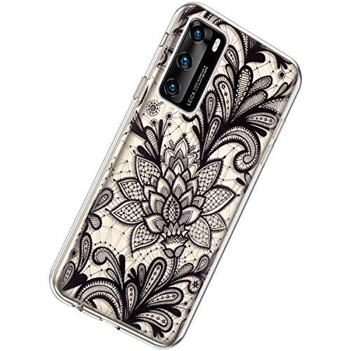 Herbests Kompatibel mit Huawei P40 Hülle Silikon Weich TPU Handyhülle Durchsichtige Schutzhülle Niedlich Muster Transparent Ultradünn Kristall Klar Handyhülle,Schwarz Blumen