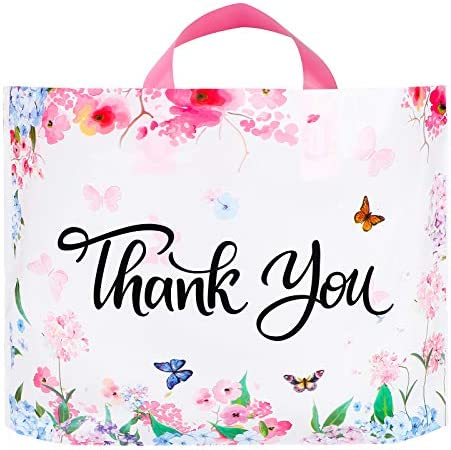 Ruisita 60 Pack Floral Thank You Merchandise Bags Shopping Bags Reusable Plastic Shopping Bags product image