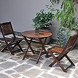 Juego de mesa de centro plegable redonda pequeña de 3 piezas, muebles de exterior, mesa auxiliar y silla de jardín, pequeña mesa auxiliar portátil de madera para patio y taburete para porche,Round