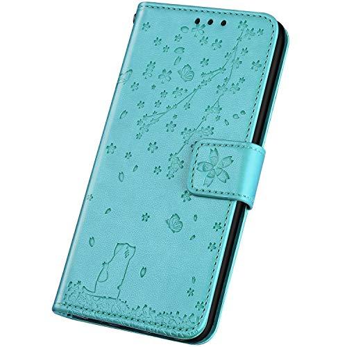 Surakey - Funda de piel sintética para Samsung Galaxy J7 2016, con tarjetero, cierre magnético, tapa para Samsung Galaxy J7 2016, verde