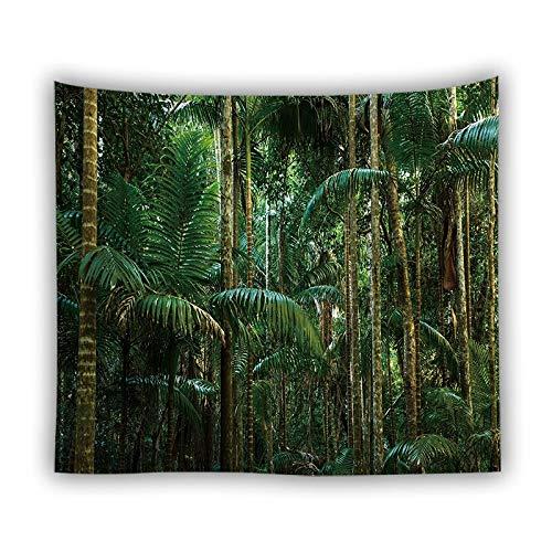 KHKJ 3D grüne Blätter Tapisserie Tropische Pflanze Wandbehang Bauernhaus Home Decor Tapisserie Tischdecke Tagesdecke Tenture Teppich A19 150x130cm