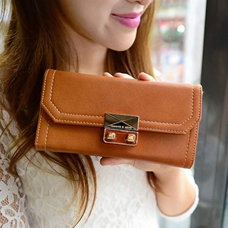 New Ladies Wallet Fashion New Casual Versatile Clutch Bag Lock Long Wallet (color   Tan) Ladies Purses (color   Tan)