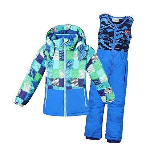 Set Kids Ski-Jacke Und Hose - Schnee- Ski Outfit Skibekleidung Junge Mädchen Im Freien 2-teiliges Set Am Besten Für Wintersport Snowboarden Blue-6Y/116