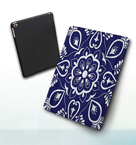 Funda para iPad 9,7 Pulgadas, 2018/2017 Modelo, 6ª / 5ª generación,Adornos con Motivos Florales Azules y Blancos Azulejo portugués Talavera Mexicana, Smart Leather Stand Cover with Auto Wake/Sleep