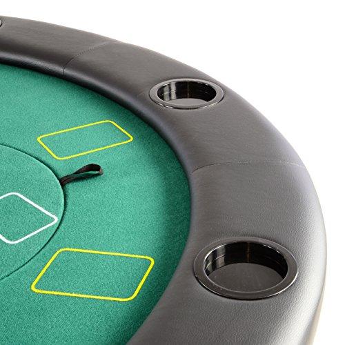 Nexos Profi Casino Pokertisch klappbar Rund Ø 120 cm; 4 in 1 Spiele: Poker, Roulette, Black Jack, Craps inkl. Karten, 100 Chips und Zubehör - 4