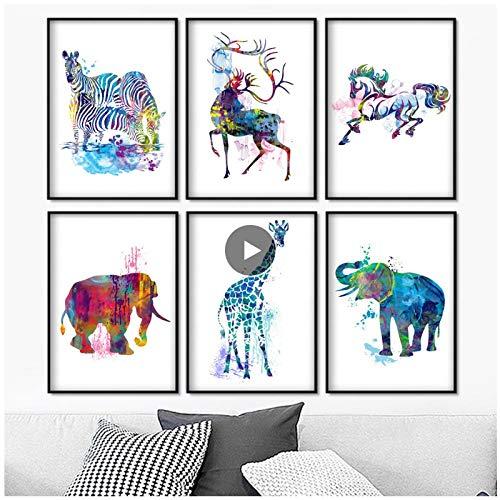 MULMF Kleurrijke giraffe zebra olifant hert muurkunst canvas poster en afdrukken wandafbeeldingen voor woonkamer huis decoratie 20 x 30 cm x 6 zonder lijst