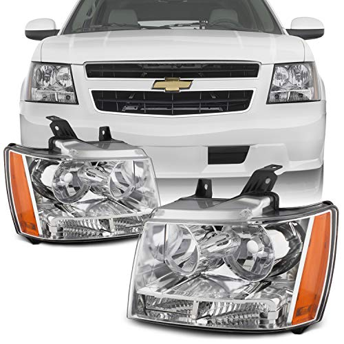 For 07-13 Suburban Tahoe Avalanche Chrome Clear Headlights Front Lamps Direct Replacement Left + Right