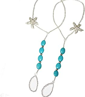 Fine Lady Turquoise Foot Jewelry Beach Sandals Beach Wedding Something Blue Rhinestone Starfish Anklet Bling Barefoot Sandals Vacation Party Pool Belly Dance Accessories