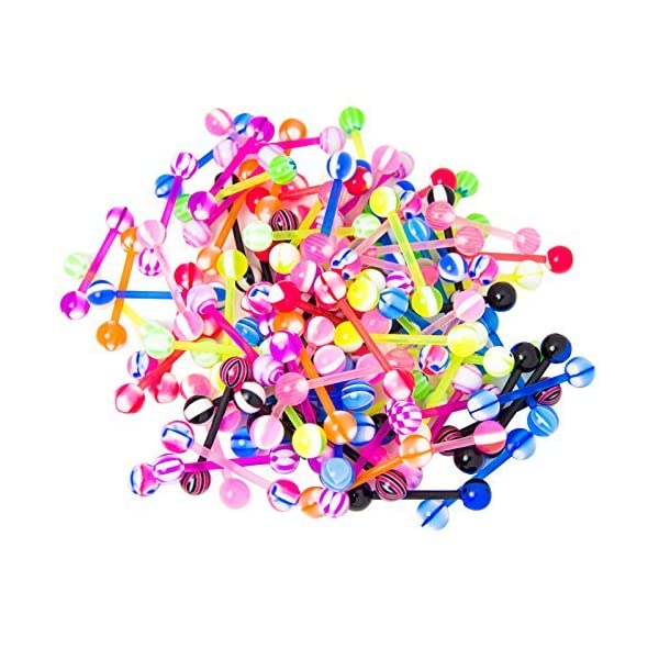 CABBE KALLO 100Pcs 14G Tongue Rings Assorted Surgical Stainless Steel Barbells Body Piercing Jewelry