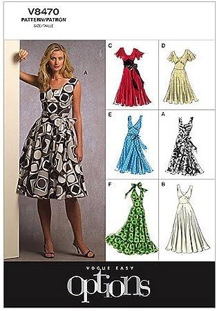 VOGUE PATTERNS V9075E5 Tallas 42 a 50 Patrones de Costura para Vestidos de Mujer