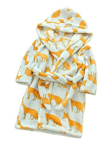 XINNE Unisex Kleinkinder Kinder Kapuzen Bademantel Jungen Mädchen Morgenmantel Cartoon Tier Pyjamas Flanell-Nachtwäsche Größe 120 Fuchs