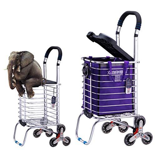 Z-SEAT Tragbare 6/8 Räder Klettertreppe Einkaufswagen Wagen Aluminium Dreirad Haushaltswagen Leichtgewichtig Faltbar - Lila