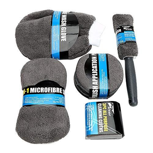 HEYB Coche 9 piezas de cuidado herramienta de limpieza con toalla de microfibra lavado guantes cepillo de rueda aplicador almohadilla de lavado esponja