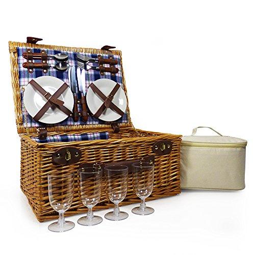 Fine Food Store - Cestino da picnic per 4 persone con vano refrigerante e accessori, fodera color crema + coperta da picnic, idea regalo per uomini e donne per qualsiasi evento e compleanni