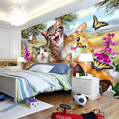 Benutzerdefinierte Tapete 3d Wandbild neue niedliche Cartoon Gras eine Gruppe von Katzen Selfies wie Kinderzimmer Tapete Home Dekoration 140x100cm