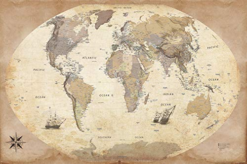 1art1 Carte - Mappa Mondo, Edizione 2011, Stile Vintage, in Inglese Poster Stampa (91 x 61cm)