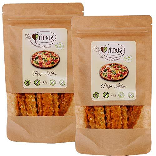 Primus Handgemachte Pizza-Kekse, 2x 80 g Doppelpack, herzhafte Kekse mit Pizza-Geschmacksnote, glutenfrei und vegan