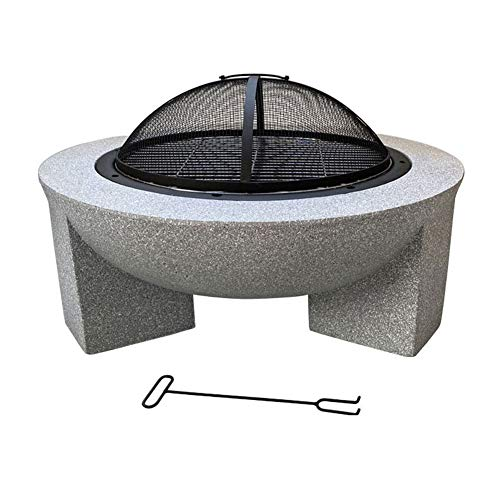 SHJC Outdoor Round Concrete Wood Burning Fire Pit with Charcoal Grill Garden Camping Poker Brazier 3-in-1 Garden Terrace Heater Brazier