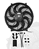 12' inch Slim Fan Push Pull Electric Radiator Cooling Fans 12V Mount Kit Unversal Black