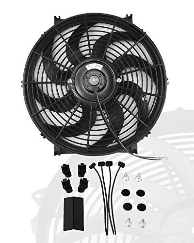 12' inch Slim Fan Push Pull Electric Radiator Cooling Fans 12V Mount Kit Unversal Black