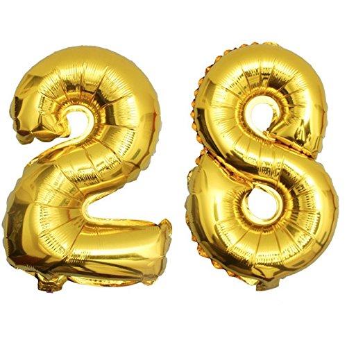 DekoRex® 28 Globo en Oro 80cm de Alto decoración cumpleaños para Aire número