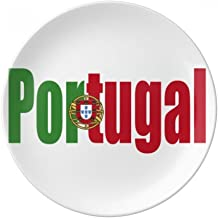 DIYthinker Portugal Country Flag Name Decorative Porcelain Dessert Plate 8 Inch Dinner Home Gift