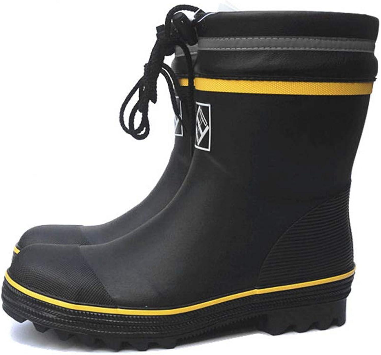 Regenstiefel TCFYXT Herren Sicherheitsstiefel StabBestendige Stahl Stahlboden Gummistiefel Mittlere Rohr Angeln Schuhe TCFYXT (gre   41 EU)