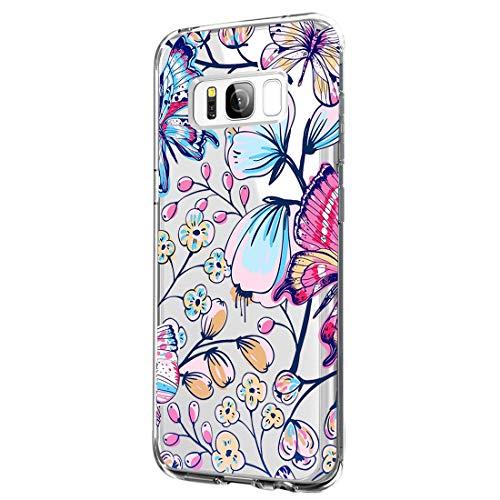 64Gril Compatibel Samsung Galaxy S8 hoes Silicone Flower Beschermhoes Rubber Telefoonhoes Bloemen Schokbestendig Krasbestendig Telefoonhoes Crystal Clear Beschermhoes voor meisjes vrouwen