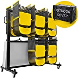 UPGORILO Folding Chair Cart - 84 Chair Storage Rack Capacity and Mobile Table with Outdoor Cover, Chair Dolly w/Rubber Locking Wheels - Heavy Duty Steel