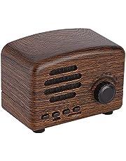 Houten Wirless-luidspreker, Retro draadloze luidspreker met FM-radio Ondersteuning USB TF-kaart en 1800 mAh batterij voor iPhone, Samsung, Android-telefoon, tablet (bruin)