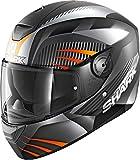 SHARK Herren NC Motorrad Helm, Schwarz/Orange, M