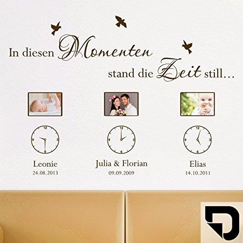 DESIGNSCAPE® Wandtattoo Fotorahmen In diesen Momenten Bilderrahmen mit Uhren, Wunschnamen und Datum 120 x 85 cm (Breite x Höhe) schwarz DW807274-M-F4