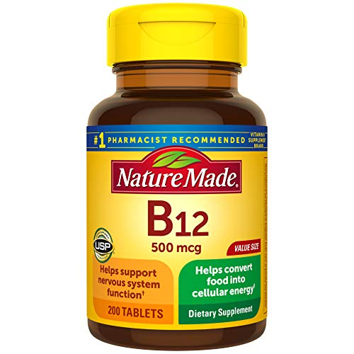 Nature Made Vitamin B12 500 mcg Tablets, 200 Count for Metabolic Health (Packaging May Vary)