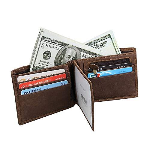 WENQU RFID-lederen portemonnee voor heren Top Layer Zieke Paard Lederen Curt Portemonnee Retro Casual Muntportemonnee Mode Trend Mens Portemonnee