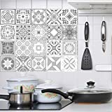 Decorative Retro Moroccan Tiles PVC Tile Stickers,Grey color Wall Art Decal,Adhesive Waterproof...