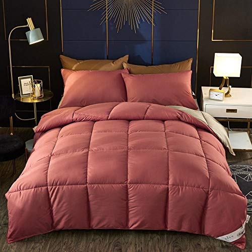 CHOU DAN white single duvet cover,Climate Control Duvet,White Goose Down Padded Warm Winter Duvet Quilt. Single And Double Fall And Winter Are Comfortable And Breathable-Brick Red_150*200cm 6 Kg