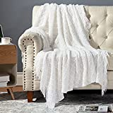 Bedsure Throw Blanket for Couch, 100% Acrylic Knit Woven Blanket, 50×60inch - Cozy Lightweight Decorative Throw for Sofa, Bed and Living Room - All Seasons Suitable for Women, Men and Kids (White)