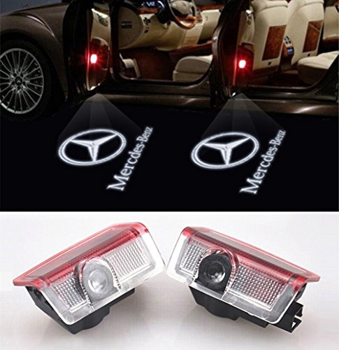 Willkommens Licht, KVCH 1 Paar LED-Höflichkeits-Lichter Einfache Installation Autotür Projektor Logo Geist Schatten Lichter für Benz C(W205)M(W166) E W212 GL mit Tür Polsterungs Entferner