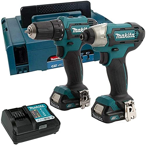 Makita CLX224AJ 12V Max Li-ion CXT 2 Piece Kit comprising DF333DZ, TD110DZ Complete with 2 x 2.0 Ah Li-ion Batteries and Charger Supplied in a Makpac Case