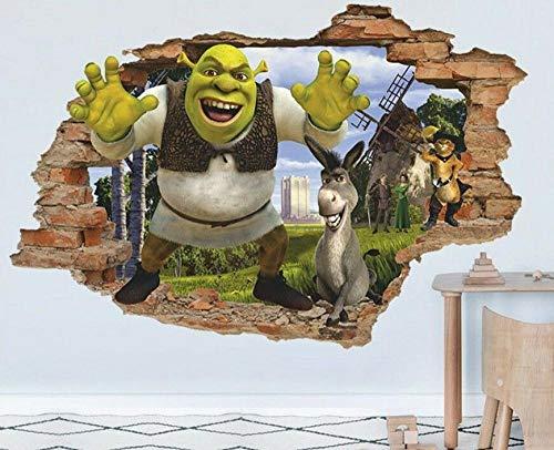 3D Pegatinas de pared Etiqueta engomada de la pared de la etiqueta de la pared de shrek 3d, etiqueta engomada desprendible del vinilo