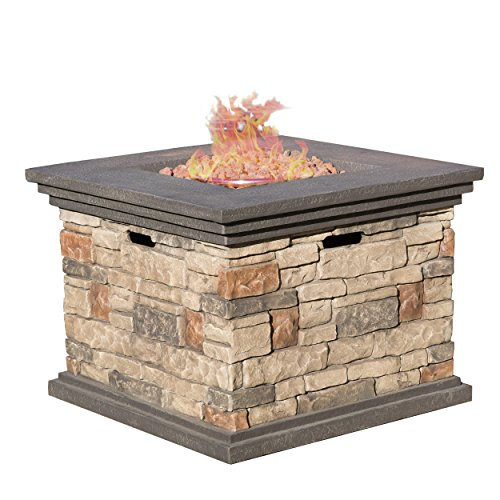 Christopher Knight Home 296587 | Crawford | Outdoor Square Propane Fire Pit with, Stone