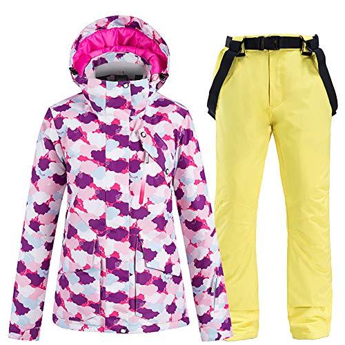 JW-YZWJ Frauen Skibekleidung, Wind- und wasserdichte Kapuze warme Outdoor-Sportbekleidung, Snowboard-Jacke und Hose, Winterberg Anzug,E,XL