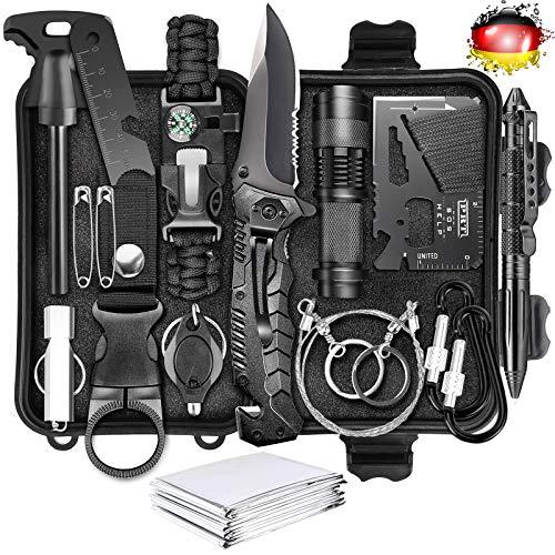 LC-dolida Survival Kit 15 in 1, Außen Notfall Survival Kit mit Messer/ Taktische Taschenlampe für Camping/ Bushcraft/ Wandern/ Jagden/ Outdoor Abenteuer