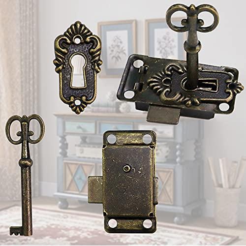 FIGFYOU Juego de 2 cerraduras vintage para gabinete, cerraduras antiguas, cerraduras de puerta de gabinete de aleación de zinc con llave para cajas de joyería, cajas de madera, cajón, armario