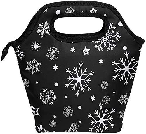 Bolsa de almuerzo, patrón de copos de nieve navideños, enfriador aislado, lonchera de hielo, bolsa de asas, bolso para hombres, mujeres, niños, adultos, niños, niñas